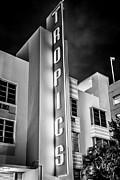 Tropics Hotel Art Deco District Sobe Miami - Black And White Print by Ian Monk