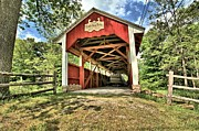 Wooden Bridges Photos - Trostle Town Covered Bridge by Adam Jewell