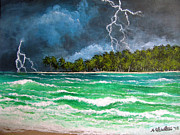 Lightning Bolts Painting Prints - Trouble in Paradise Print by Amy Scholten