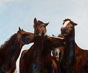 Herd Of Horses Prints - Trouble Makers Print by Frances Marino