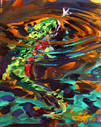 Impressionist Paintings - Trout and Fly II by Mike Savlen