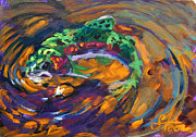 Abstract Wildlife Paintings - Trout and Fly by Mike Savlen