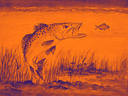 Speckled Trout Digital Art Posters - Trout Attack 2 In Orange Poster by Bill Holkham