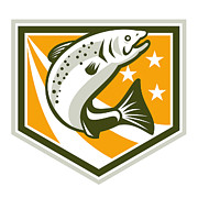 Salmon Digital Art Posters - Trout Jumping Retro Shield Poster by Aloysius Patrimonio