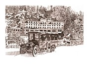 Hotel Drawings Prints - Troutdale in the pines hotel Print by Sonny Perschbacher