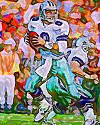 Dallas Mixed Media Prints - Troy Aikman  Print by DJ Fessenden