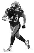 Nfl Drawings Prints - Troy Polamalu Print by Bobby Shaw