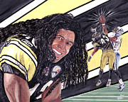 Pittsburgh Steelers Paintings - Troy Polamalu by Israel Torres