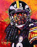 League Framed Prints - Troy Polamalu Framed Print by Maria Arango