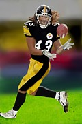 Steelers Digital Art Prints - Troy Polamalu Print by Zelma Hensel