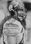 Steelers Drawings - Troy Polamolu by Jeremy Moore