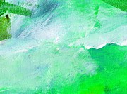 Emerald Green Abstract Paintings - Trubulent Emerald Green by L J Smith