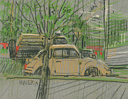 Yellow Drawings Originals - Truck and Beetle by Donald Maier