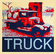 Old Barrels Posters - Truck Poster by Barbara Snyder