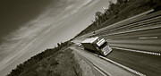 Delivery Truck Posters - Truck In Fast Motion On Freeway Poster by Christian Lagereek