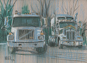 Transportation Pastels Originals - Truck Stop by Donald Maier