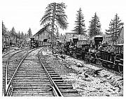 Train Drawings Originals - Truckee 1870 by Bruce Kay
