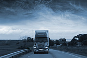 Delivery Truck Prints - Trucking Late At Night Print by Christian Lagereek