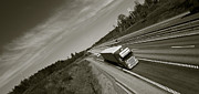 Delivery Truck Prints - Trucking On Dark Highway Print by Christian Lagereek