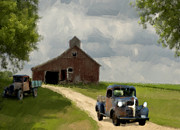 Grey Digital Art Framed Prints - Trucks And Barn Framed Print by Jack Zulli
