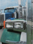 Reflections Mixed Media Originals - Trucks in Green and Blue by Anita Burgermeister