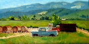 Calistoga Painting Posters - Trucks with a View Poster by Char Wood