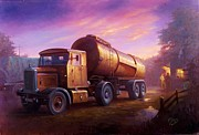 Old Paintings - Truckstop 1956 by Mike  Jeffries