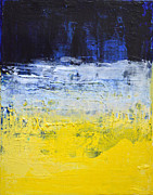 Abstract Expressionist Acrylic Prints - TRUE MIND - Blue Yellow White Abstract by Chakramoon Acrylic Print by Belinda Capol