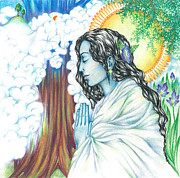 Blessings Drawings - True Nature   oneness art by Lydia Erickson