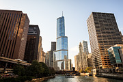 Michigan Avenue Posters - Trump Tower and Downtown Chicago Buildings Poster by Paul Velgos
