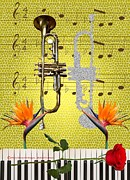 Trumpet Digital Art - Trumpet and Piano Rhapsody by Michael Chatman