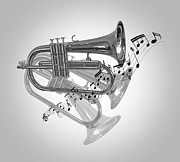 Musical Imagery Prints - Trumpet Fanfare Black and White Print by Gill Billington