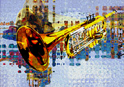 Pop Music Digital Art Prints - Trumpet Print by Jack Zulli