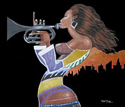 Wall Art Prints Digital Art Originals - Trumpet Lady by Donald Lyons