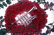 Trumpet Posters - Trumpet on red berry wreath Poster by Garry Gay