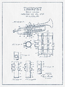 Trumpet Patent From 1939 - Blue Ink Print by Aged Pixel