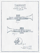 Trumpet Patent From 1940 - Blue Ink Print by Aged Pixel