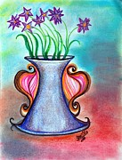 Floral Drawings Originals - Trumpet Vase by Jan Nosakowski