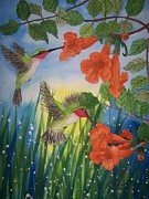 Vine Paintings - Trumpet Vine Fantasy by B Kathleen Fannin