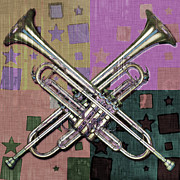 Trumpet Digital Art Posters - Trumpets and Stars Abstract Poster by David G Paul