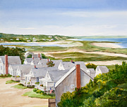 Oceanside Painting Prints - Truro Summer Cottages Print by Michelle Wiarda