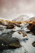 Llyn Idwal Prints - Tryfan and Icy Afon Idwal Print by Beverly Cash