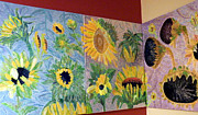 Yellow Reliefs Posters - Tryptich Corner Sunflowers Poster by Vicky Tarcau