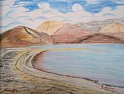 Color Pencils Framed Prints - Tso Pangong Art Framed Print by Karishma Desai