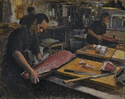 Asian Market Paintings - Tsukiji Market by Phil Couture