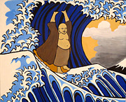 Concentration Painting Framed Prints - Tsunami Surfing Buddha Framed Print by Nathan Winsor