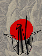 Good Luck Metal Prints - Tsuru Metal Print by Cheryl Young