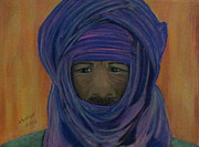 Fabric Pastels Prints - Tuareg Man 2 Print by Serran Dalmak