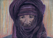 Fabric Pastels Prints - Tuareg Man Print by Serran Dalmak