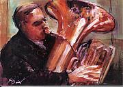 Concerts Mixed Media Framed Prints - Tuba Player Framed Print by Podi Lawrence